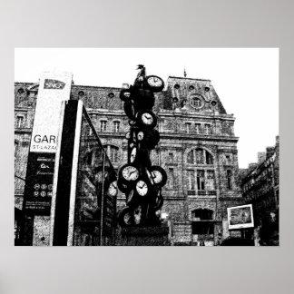 Torre de reloj en París Posters
