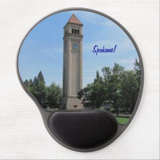 Torre de reloj icónica de Spokane, Washington Alfombrillas De Ratón Con Gel