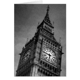 Torre de reloj negra y blanca de Big Ben Tarjeta De Felicitación