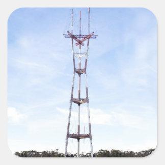 Torre de Sutro Calcomania Cuadradas