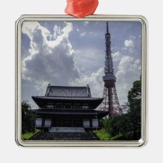 Torre de Tokio Adorno Cuadrado Plateado