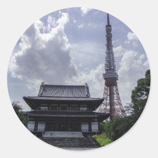 Torre de Tokio Etiqueta Redonda