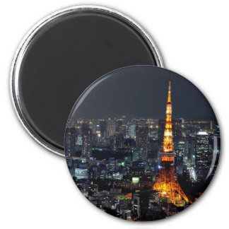 Torre de Tokio por noche Imán Redondo 5 Cm