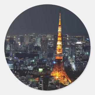 Torre de Tokio por noche Pegatinas Redondas