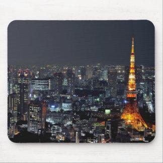 Torre de Tokio por noche Tapetes De Ratón