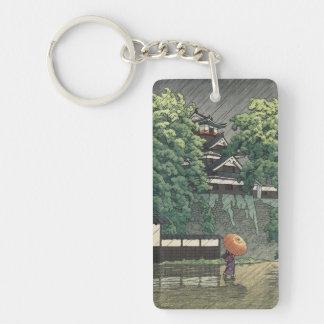 Torre de Udo, castillo de Kumamoto en la lluvia Ka Llavero Rectangular Acrílico A Doble Cara