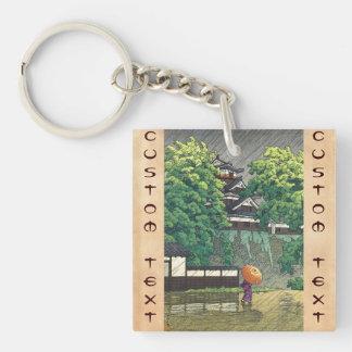 Torre de Udo, castillo de Kumamoto (Kumamoto-jô Ud Llavero Cuadrado Acrílico A Doble Cara
