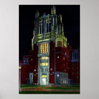 Torre del hospital de Iowa City Iowa en la noche Impresiones