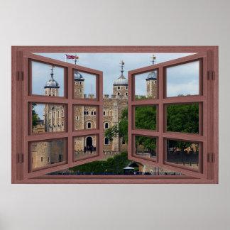 Torre del poster de la ventana abierta del cristal