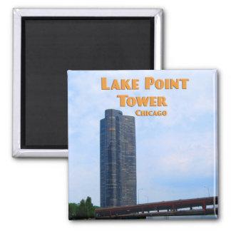 Torre del punto del lago - Chicago Illinois Imán Cuadrado