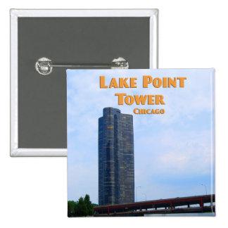 Torre del punto del lago - Chicago Illinois Pin Cuadrado