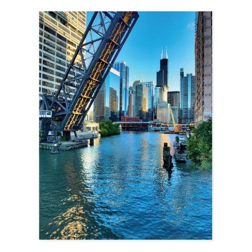 Torre del río Chicago y de Willis Postales