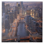 Torre del río Chicago y del triunfo desde arriba Azulejo Cuadrado Grande