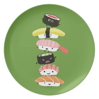 Torre del sushi - amigos felices del sushi de plato de comida