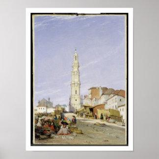 Torre dos Clerigos, Oporto, Portugal, 1837 (oil on Poster