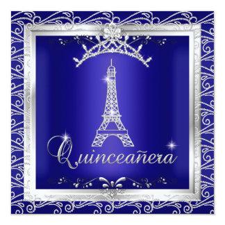 """Torre Eiffel 2 de la tiara de la plata del azul Invitación 5.25"""" X 5.25"""""""
