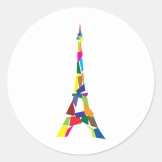 Torre Eiffel abstracta, Francia, París Etiquetas Redondas