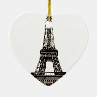 Torre Eiffel Adorno Navideño De Cerámica En Forma De Corazón