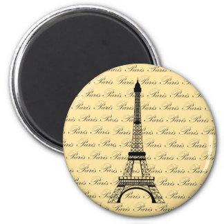 Torre Eiffel amarilla y negra de París Imán Redondo 5 Cm
