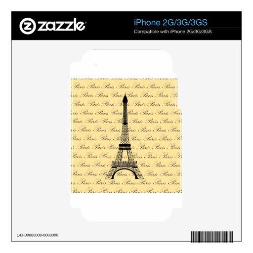 Torre Eiffel amarilla y negra de París iPhone 2G Calcomanía