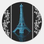 Torre Eiffel artística con las fronteras florales Etiqueta Redonda