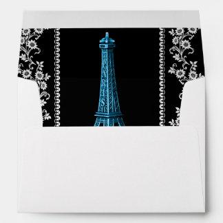 Torre Eiffel artística con las fronteras florales Sobres