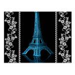 Torre Eiffel artística con las fronteras florales Tarjetas Postales