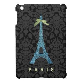 Torre Eiffel azul en falso brillo