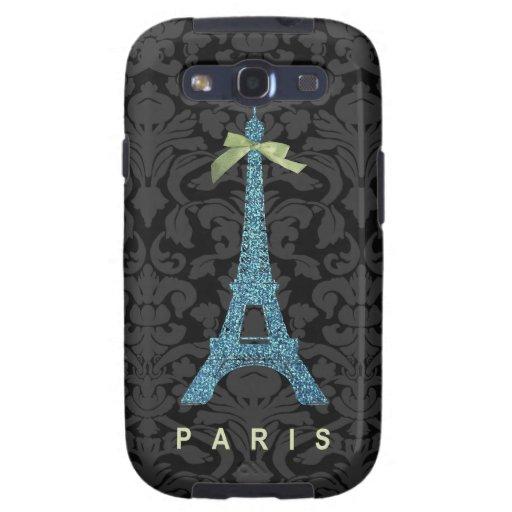 Torre Eiffel azul en falso brillo Galaxy SIII Coberturas