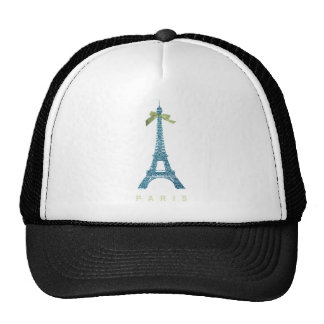 Torre Eiffel azul en falso brillo Gorro De Camionero