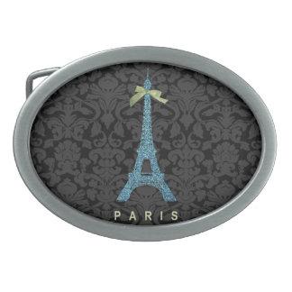 Torre Eiffel azul en falso brillo Hebillas Cinturón Ovales