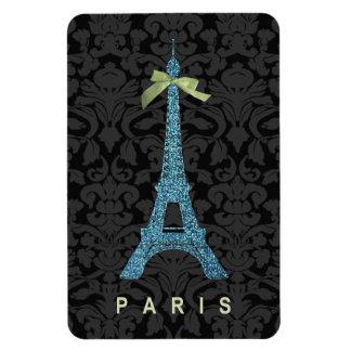 Torre Eiffel azul en falso brillo Imanes Flexibles