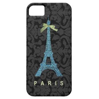 Torre Eiffel azul en falso brillo iPhone 5 Funda