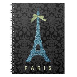 Torre Eiffel azul en falso brillo Libretas