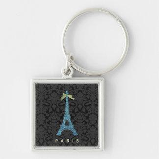 Torre Eiffel azul en falso brillo Llavero Cuadrado Plateado