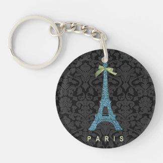 Torre Eiffel azul en falso brillo Llavero Redondo Acrílico A Doble Cara