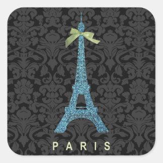 Torre Eiffel azul en falso brillo Pegatina Cuadrada