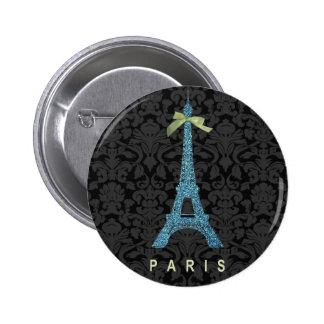 Torre Eiffel azul en falso brillo Pin Redondo 5 Cm