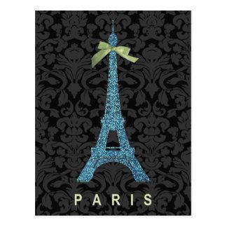 Torre Eiffel azul en falso brillo Postal