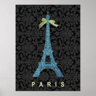 Torre Eiffel azul en falso brillo Póster