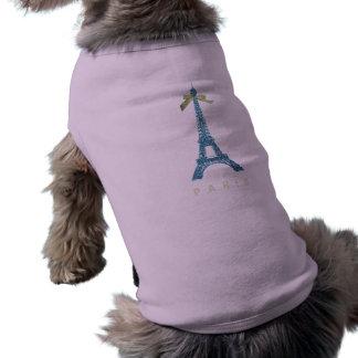 Torre Eiffel azul en falso brillo Playera Sin Mangas Para Perro