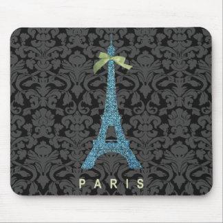 Torre Eiffel azul en falso brillo Tapetes De Ratón