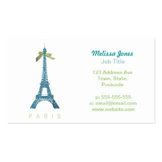 Torre Eiffel azul en falso brillo Tarjetas De Negocios