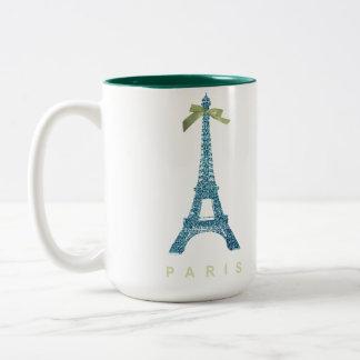 Torre Eiffel azul en falso brillo Taza De Dos Tonos