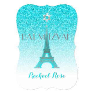 """Torre Eiffel azul/Mitzvah del brillo de PixDezines Invitación 5"""" X 7"""""""