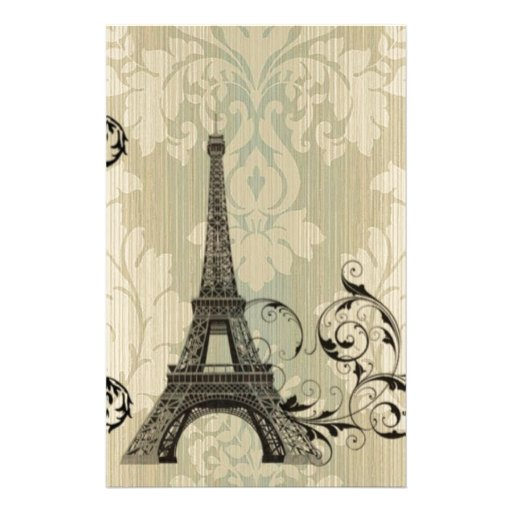 Torre Eiffel beige elegante de París del damasco Papeleria De Diseño