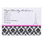 Torre Eiffel blanca del damasco del negro de la Plantilla De Tarjeta De Negocio