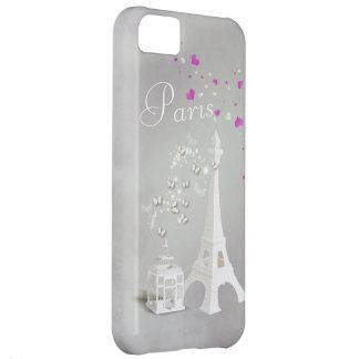 Torre Eiffel blanca elegante y mariposas caprichos Carcasa Para iPhone 5C