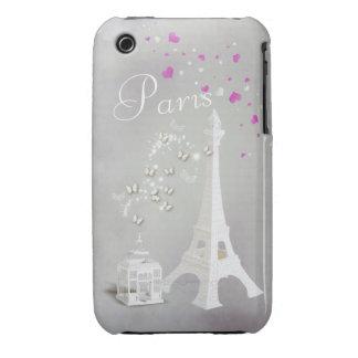 Torre Eiffel blanca elegante y mariposas Funda Bareyly There Para iPhone 3 De Case-Mate