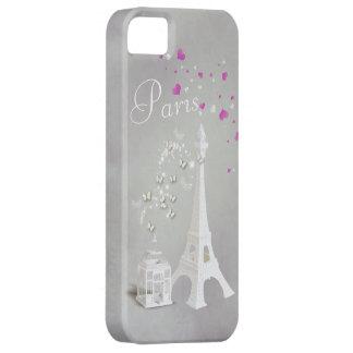 Torre Eiffel blanca elegante y mariposas Funda Para iPhone SE/5/5s